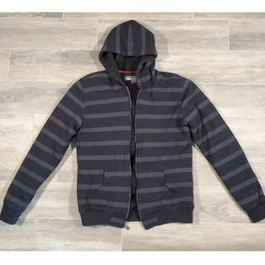 ONEILL Full Zip Black Gray Stripe Fleece Lined